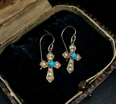 Antique Victorian Turquoise Pearl Cross Earrings 14k gold  WITH box  BEAUTIFUL