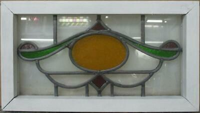 """OLD ENGLISH LEADED STAINED GLASS WINDOW Pretty Abstract Design 19.25"""" x 10.75"""""""