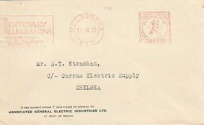 Stamp advertising cover 1934 Melbourne Victoria Centenary red slogan postmark