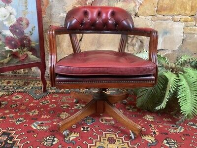 Vintage,Antique Style Swivel Office Desk Chair~Antique Red Leather Chesterfield