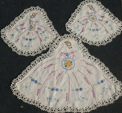 Vintage Hand worked   CRINOLINE Lady Duchess Set, 3 Items Fine stitches
