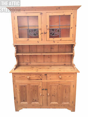 Quality Old Antique Vintage Solid Pine Welsh Dresser, Stained Glass, Kitchen