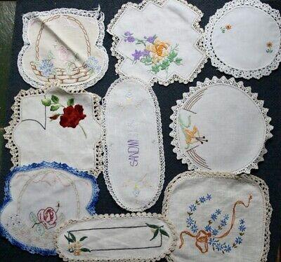 Vintage Hand worked 9 Embroidered ITEMS ROSES Sandwich round Doilies Linens