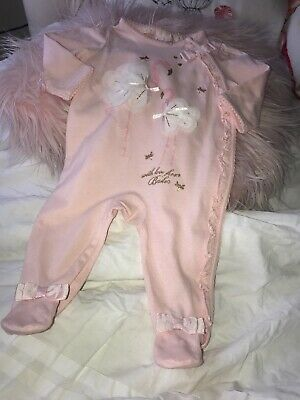Ted Baker Girls Newborn Pink Romper/outfit Flamingo Motif