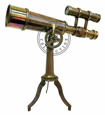 Kelvin & Hughes Nautical Antique Brass Telescope Double Barrel With Tripod Stand