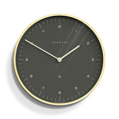 Large Round Grey Minimalist Dial Wooden Case Newgate Mr Clarke Wall Clock 53cm