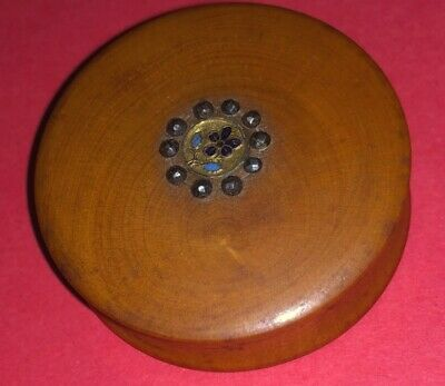 Antique French Palais Royal Carved Wood Gold Enamel Cut Steel Pill Snuff Box