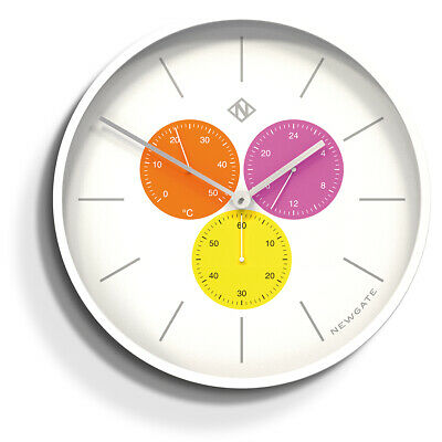 Extra Large White Wall Clock with Coloured Sub-dials The Newgate Triptych 53cm
