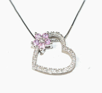 """14K White Gold Diamond Heart With Pink Sapphire Flower 18"""" Box Chain Necklace"""
