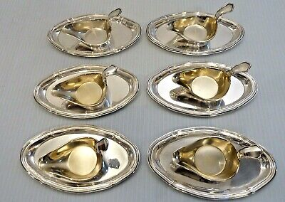Set 6 Silver Small Drawn Butter Or Sauce Boats & Oval Under Plates