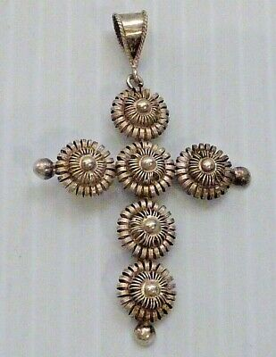 "Antique Solid Silver Filigree European Large Cross Pendant Marked ""13 1/2"""