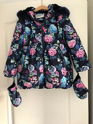 Marks & Spencer Girls Padded Winter Coat With Mittens Navy Floral 6-7 Years M&S