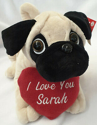 Personalised Pug Dog bear Red Heart Embroidered Name VALENTINE DAY Gift Him Her