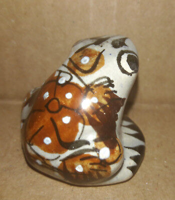 """Vintage Miniature Frog Ceramic Pottery Hand Painted Floral 1"""" Tall"""