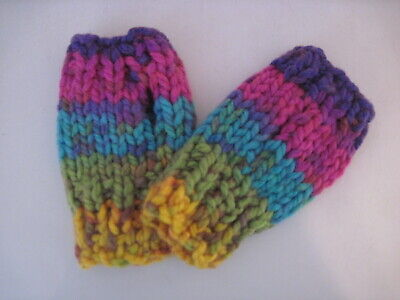 Child hand knit fingerless gloves - multi colored- small 5 years