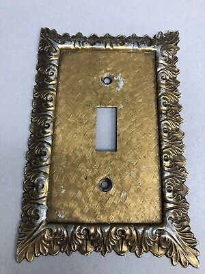 Vintage Light Switch Plate Cover Ornate Victorian Pattern Stamped M.C. C.O
