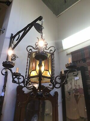 Gothic Midevil Wrought Iron Vintage 6 Arm Light Fixture Chandelier Stained Glass