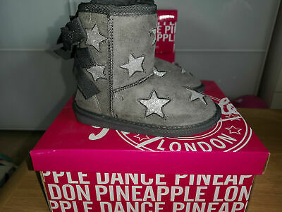 KIDS JUNIOR Girls Pineapple Grey Star ankle WINTER Boots with bows uk size 12