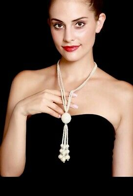 GATSBY 20s STYLE TASSLE PEARLS LONG NECKLACE LAYERED Crystal DIAMOND NECKLACE