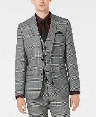 $295 Bar III Slim-Fit Black/White Plaid Suit Separate Jacket Mens 40L 40 NEW