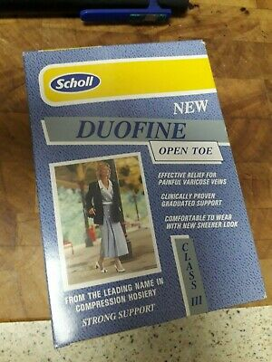 Scholl Duofine Open Toe Class Iii Strong Support Compression Hosiery, Stockings,