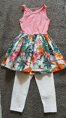 Girls Beautiful Next Floral Top And Cropped Leggings Set 6 Yrs