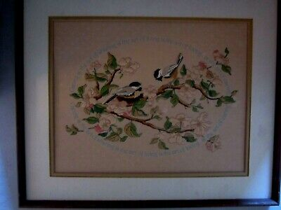 Vintage completed finished embroidery stamped words. Birds Caring Matted Framed