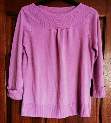 Marks and Spencer size 14 pale pink jumper with decorative ribbed panel on neck
