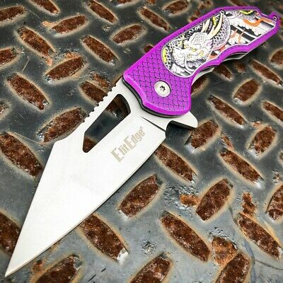 Purple Tactical Dragon Spring Open Assisted Folding Blade Hunting Pocket Knife