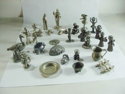 Group / Lot Of 27 Miniature Pewter Nativity Figurines ++ : Hudson, Conn. House