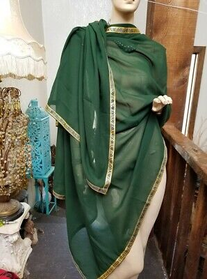 "Authentic Ethnic Indian Dupatta Shawl Wrap Scarf Pakistan Mid East Boho 95"" Long"