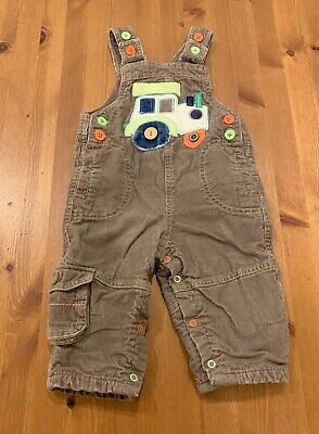 Marks & Spencer Boys 9-12M Brown Corduroy Tractor Overalls One Piece