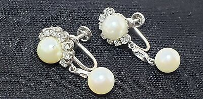 Antique Earrings- 14K White Gold Diamond & Pearls-1.25In16 Tiny Diamonds-Nr!