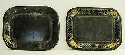 Antique Primitive Tinware Toleware Pair Tin Pin Trays Small In Size Both Same