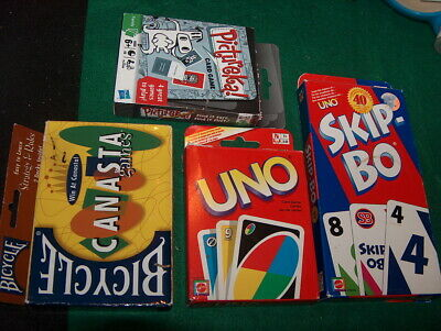 Card Game Lot Of 4 Canasta UNO Pictureka Skip-Bo Complete Sets