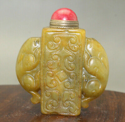 Chinese Exquisite master hand carved  old jade snuff bottle u350