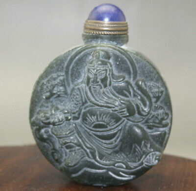 Chinese master hand carved 关公 old  jade snuff bottle u353