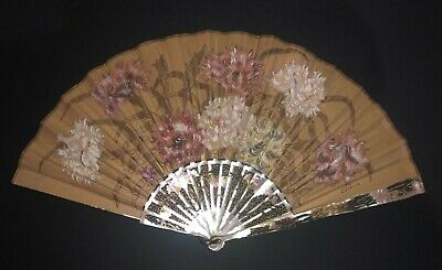 Antique French Art Nouveau Carved Mother Of Pearl Hand Painted Carnation Fan