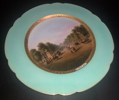 Antique Russian Or French Hand Painted Topographic View Porcelain Cabinet Plate