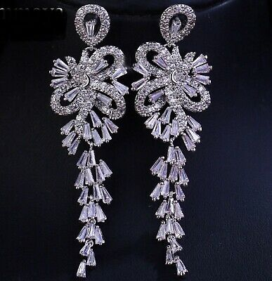 Sparkly AAA Zircon White Gold Plated Chandelier Drop Dangle Earrings Bridal Prom