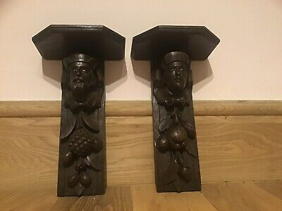 Pair of Black Forest wall shelves