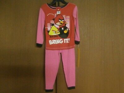 Angry Birds girls 2 piece cotton pajama set size 4 Brand New with Tags