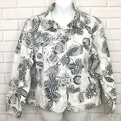 Chicos Black White Jean Jacket Denim Sequined Size 2 Abstract Floral Graphic 2