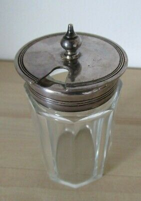 Vintage small glass mustard pot with hinged silver lid