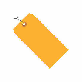 """#5 Orange Fluorescent Wired Tag Pack 4-3/4"""" x 2-3/8"""" - 1000 Pack G12053D  - 1"""