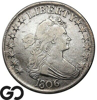 1806 Draped Bust Half Dollar, XF Wholesale Bid $1250, Scarce Early 50c