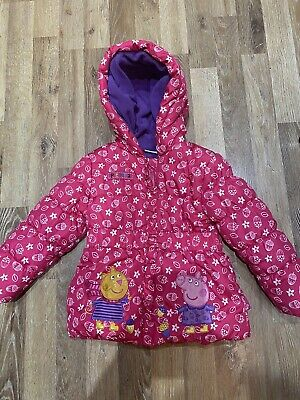 Peppa Pig Pink Girls Padded Fleece Lined Coat Jacket Age 2-3 Years
