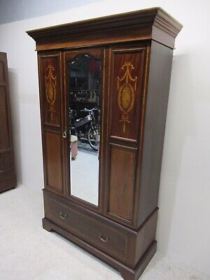Antique Edwardian Inlaid Wardrobe Mirror Fronted Mahogany Superb Inlaid Detail