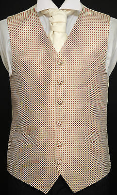 W457 chocolate/gold/ivory checked waistcoat - wedding/suit/party