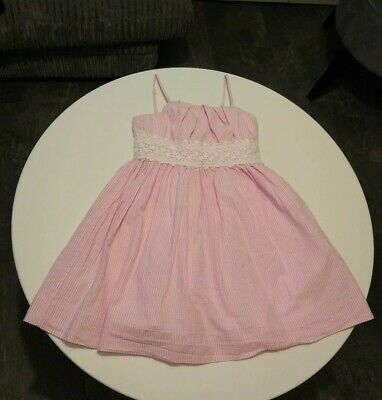 Girls Ralph Lauren Candy Pink white lace Stripe Dress Age 7 Years